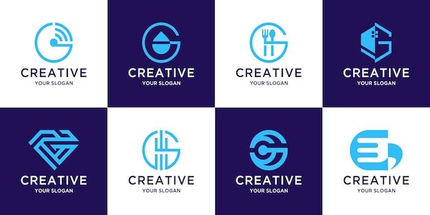 Conjunto de modelo de logotipo letra g inicial do monograma criativo