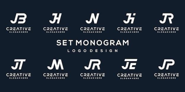 Conjunto de modelo de logotipo letra j inicial do criativo