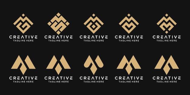 Conjunto de modelo de logotipo m inicial de monograma abstrato.