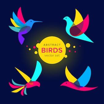 Conjunto de modelo de logotipo moderno pássaros abstrata