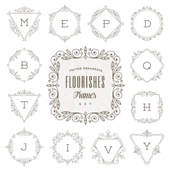 Conjunto de modelo de logotipo monograma com quadros de caligrafia elegante ornamento floresce - ilustração