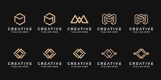 Conjunto de modelo de logotipo mwc de letra inicial abstrata.