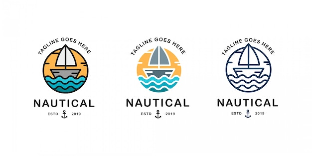 Conjunto de modelo de logotipo náutico. logotipo vetorial