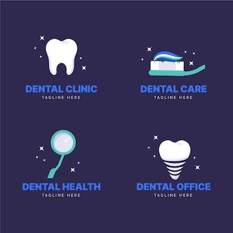 Conjunto de modelo de logotipo odontológico plano