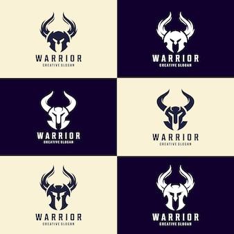 Conjunto de modelo de logotipo para capacete de guerreiro, logotipo espartano, design de capacete viking