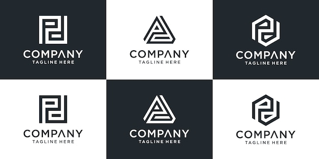 Conjunto de modelo de logotipo pd de carta de monograma abstrato criativo