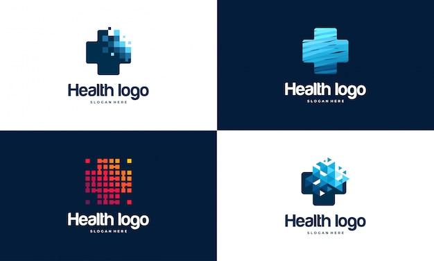 Conjunto de modelo de logotipo pixel health