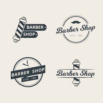 Conjunto de modelo de logotipo profissional de barbearia