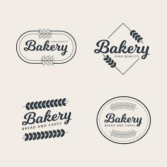 Conjunto de modelo de logotipo profissional de padaria