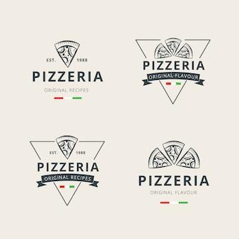 Conjunto de modelo de logotipo profissional de pizza