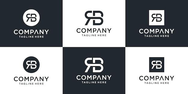 Conjunto de modelo de logotipo rb de letra de monograma abstrato