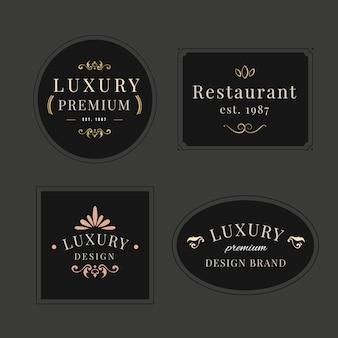 Conjunto de modelo de logotipo retrô de luxo