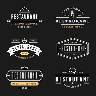 Conjunto de modelo de logotipo retrô de restaurante