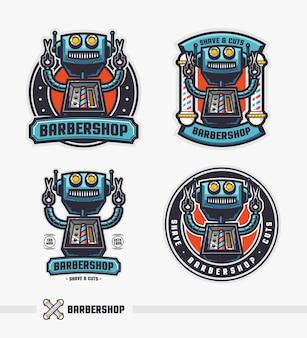 Conjunto de modelo de logotipo robô distintivo retrô de barbearia