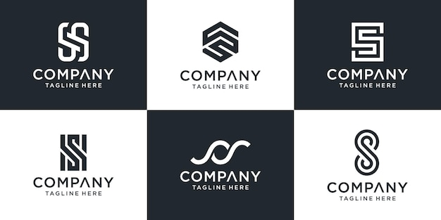 Conjunto de modelo de logotipo s de letra de monograma abstrato.