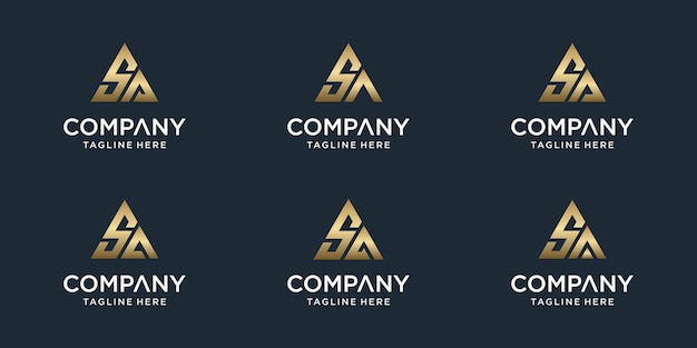 Conjunto de modelo de logotipo sa criativo abstrato monograma letra. logotipos para negócios de luxo, elegante, simples