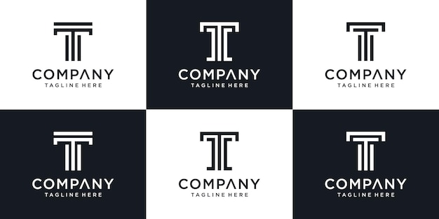 Conjunto de modelo de logotipo t de letra inicial abstrata de monograma.