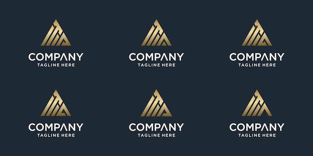 Conjunto de modelo de logotipo ta carta monograma abstrato criativo. logotipos para negócios de luxo, elegante, simples