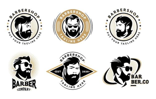 Conjunto de modelo de logotipo vintage de barbearia criativa de pacote