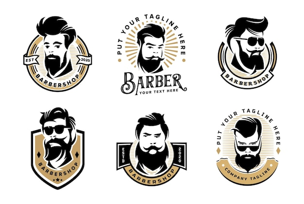 Conjunto de modelo de logotipo vintage de barbearia para empresa