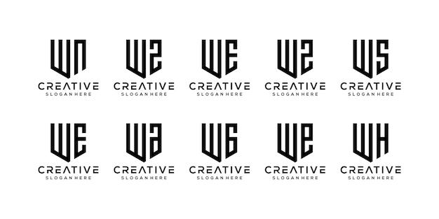 Conjunto de modelo de logotipo w de letra inicial abstrato.