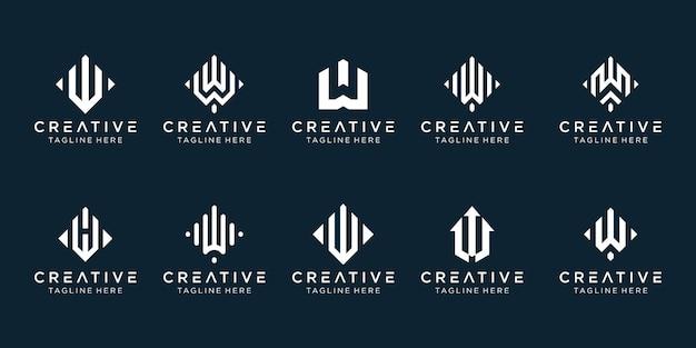 Conjunto de modelo de logotipo w inicial de monograma criativo.