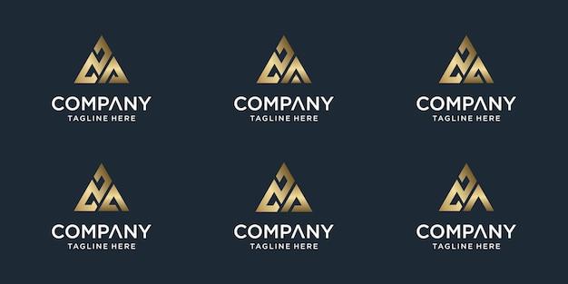Conjunto de modelo de logotipo za de letra monograma abstrato criativo. logotipos para negócios de luxo, elegante, simples