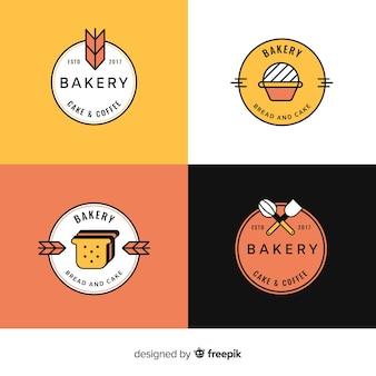 Conjunto de modelo de logotipos de padaria arte linha