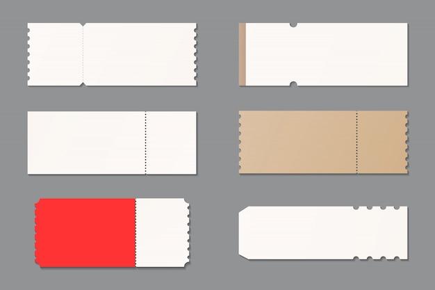Conjunto de modelo de maquete de bilhete em branco. bilhete de concerto, festa, festival, loteria ou cupom. maquete isolada. modelo de design. realista