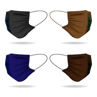 Conjunto de modelo de máscara de pano com cor escura
