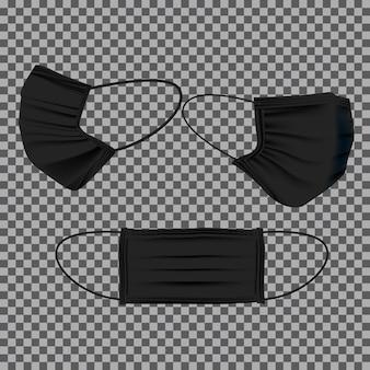Conjunto de modelo de máscara médica preta