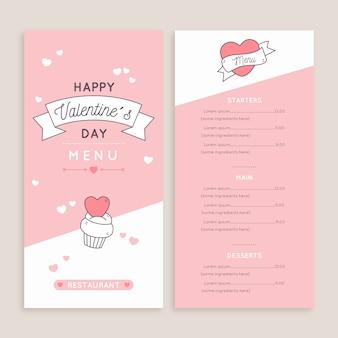 Conjunto de modelo de menu de dia dos namorados de design plano