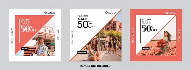Conjunto de modelo de mídia social. exclusivo, banner de venda, oferta e desconto