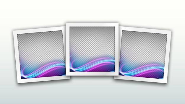 Conjunto de modelo de molduras quadradas com efeito de luz de onda