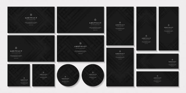 Conjunto de modelo de negócio preto. artigos de papelaria de marca