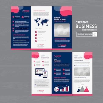 Conjunto de modelo de negócios com três dobras