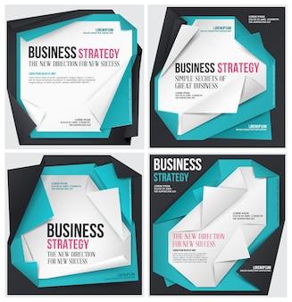 Conjunto de modelo de negócios origami abstrato