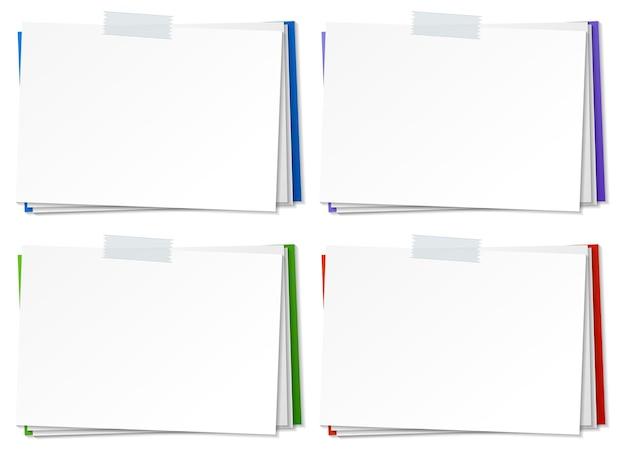 Conjunto de modelo de nota de papel em branco com fita adesiva