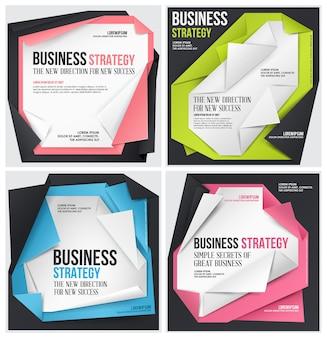 Conjunto de modelo de origami de negócios.