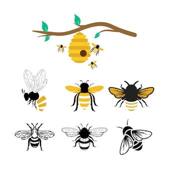 Conjunto de modelo de pacote de ícone de abelhas isolado