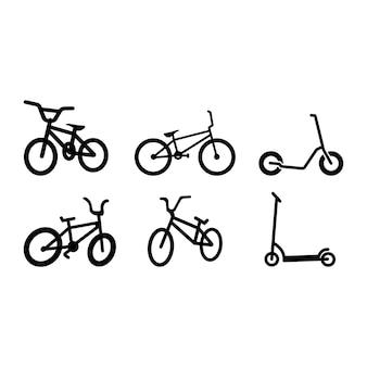 Conjunto de modelo de pacote de ícone de bicicleta isolado