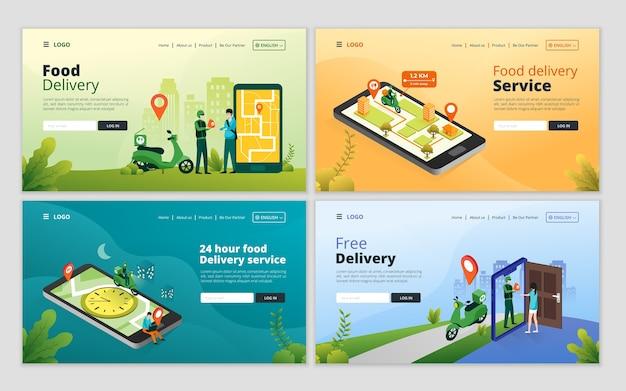 Conjunto de modelo de página de destino de serviço de entrega de comida online