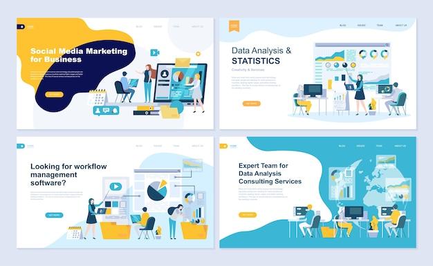 Conjunto de modelo de página de destino para análise de dados, gestão, consultoria, marketing.