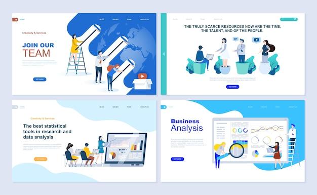 Conjunto de modelo de página de destino para o aplicativo de negócios, análise de dados, carreira, trabalho em equipe.