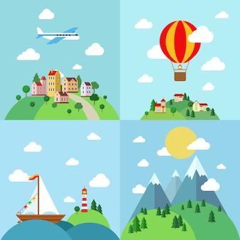 Conjunto de modelo de paisagens planas de férias ao ar livre