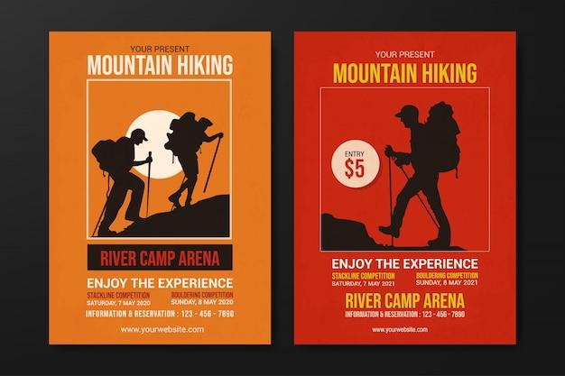 Conjunto de modelo de panfleto de caminhadas na montanha, vetor de design retro plana