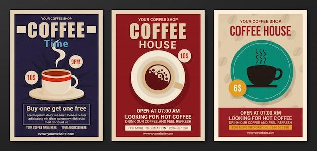 Conjunto de modelo de panfleto de casa de café