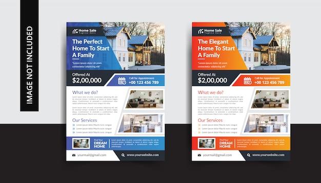 Conjunto de modelo de panfleto de imóveis em casa perfeita