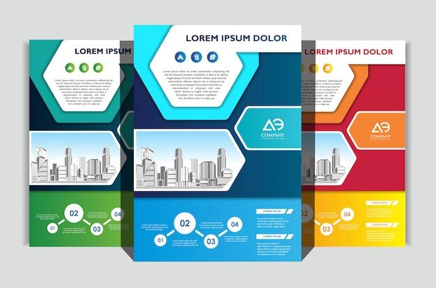 Conjunto de modelo de panfleto de negócios