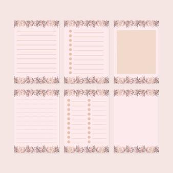 Conjunto de modelo de papel de carta rosa